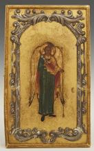 Russian Icon of a Guardian Angel, 1908-1917, Moscow, with a gilt silver oklad with a maker's mark of
