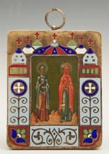Russian Panagia of Saints Marfa and Maria, 1908-1917, Moscow, Mstera school in a silver and enamel frame, with a maker's mark of