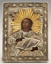Russian Icon of Christ Holding the Bible, early 19th c., Moscow, with a gilt silver niello oklad, with a maker's mark of