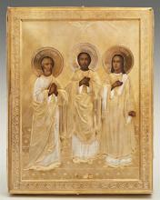 Russian Icon of Saints Gury, Simon and Aviv, 1896-1908, Moscow, with a gilt silver oklad with a maker's mark of