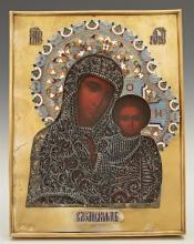 Russian Icon of the Virgin of Kazan, 1896-1908, Moscow, with a gilt silver, filigree and enamel oklad, with a maker's mark of