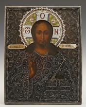 Russian Icon of Christ Pantocrator, 1896-1908, Moscow, with a silver filigree and enamel oklad, with a maker's mark of
