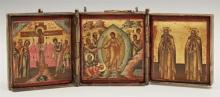 Russian Bronze Icon Triptych of The Resurrection, The Crucifixion and Saint John and Prophet Moses, late 19th c., H.- 3 3/4 in., W.-...