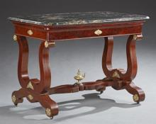 American Federal Carved Mahogany Ormolu Mounted Marble Top Library Table, early 19th c., the highly figured rounded edge black marbl...