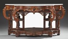 American Rococo Revival Carved Walnut Marble Top Console Table, mid 19th c., attributed to Thomas Brooks, the bowed serpentine ogee...