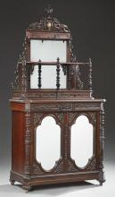 Rococo Style Rosewood Grained Parlor Cabinet, late 19th c., possibly Austrian for the American market, the etagere top with a pierce...