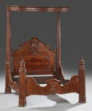 American Rococo Carved Mahogany Half Tester Bed, c. 1850-1860, stamped