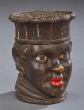 German Black Figural Covered Earthenware Cigar Jar, 19th c, the base incised
