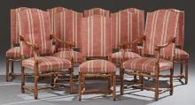 Set of Ten (8+2) French Carved Cherry Upholstered Dining Chairs, 20th c., the arched high backs over upholstered seats on cabriole l...