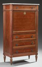 French Carved Mahogany Ormolu Mounted Louis XVI Style Marble Top Secretary Abattant, early 20th c., the ogee edge cookie corner figu...