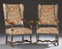 Unusual Pair of French Caned Beech Wing Chairs, early 20th c