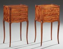 Pair of Louis XV Style Marquetry Inlaid Mahogany Nightstands, 20th c., the three quarter galleried tops over three bowed drawers, on...