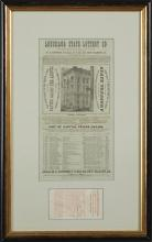 Rare Louisiana Lottery Broadside and Ticket, May 13, 1879, presented in a single double sided frame, H.- 15 1/2 in., W.- 6 in. Prove...