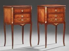 Pair of Louis XV Style Ormolu Mounted Parquetry Inlaid Mahogany Nightstands, 20th c., the rectangular canted corner top over three d...