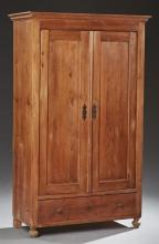 American Carved Pine Armoire, 19th c., the stepped crown over paneled double doors above a single long drawer on ball feet, H.- 76 1...