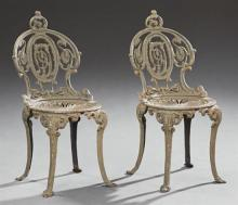 Three Cast Iron Garden Pieces, 20th c., consisting of a pair of side chairs and a rectangular planter, Planter- H.- 14 1/2 in., W.-...
