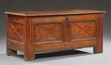 French Provincial Carved Oak Coffer, 19th c., the rectangular top over a front with incised X panels flanked by reeded stiles, the s...