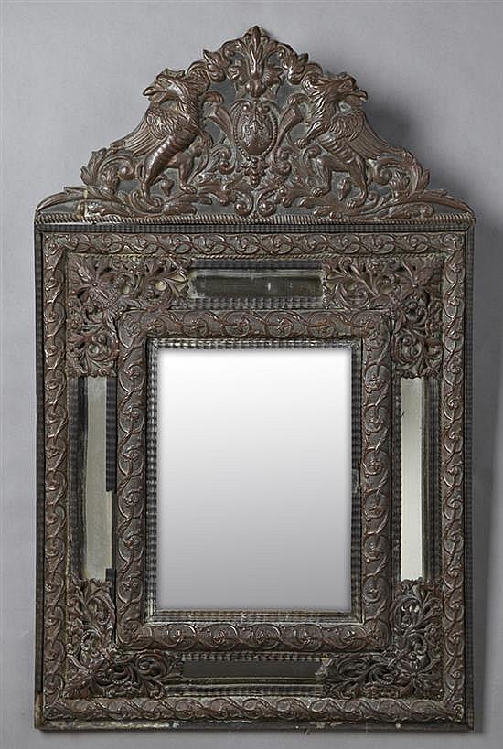 Dutch baroque style repousse copper cushion mirror 19th c for Rectangular baroque mirror