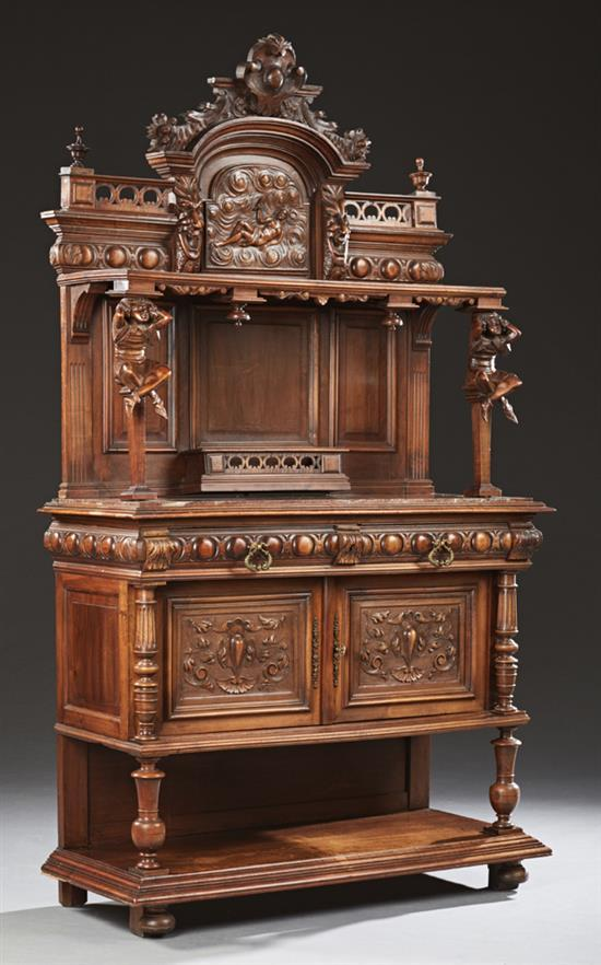 french henri ii style carved walnut marble top buffet a deux. Black Bedroom Furniture Sets. Home Design Ideas