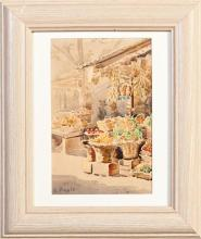 """†Charles Wellington Boyle (1861-1925, New Orleans), """"The Fruit and Vegetable Market,"""" 20th c., watercolor, signed lower left, framed,.."""