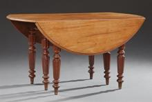 French Louis Philippe Carved Cherry Demi-Lune Dining Table, 19th c