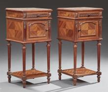 Pair of French Louis XVI Style Carved Mahogany Marble Top Nightstands, 20th c