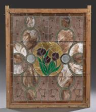 American Leaded Slag Glass Window, c. 1880, with numerous