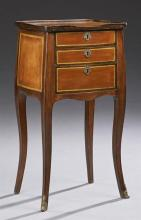 French Louis XV Style Carved Walnut Night Stand, early 20th c., the galleried top over three graduated drawers, on cabriole legs, H....