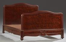 French Burled Walnut Double Bed, early 20th c., the reeded arched headboard to wooden rails and an arched footboard, H.- 48 1/2 in.,...