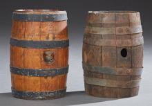 Two Civil War Oak Water Casks, 19th c., with iron banding, one mounted with a spigot, H.- 10 7/8 in., W.- 9 in., D.- 7 1/2 in. Prove...