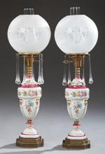 Pair of Victorian Style Porcelain Table Lamps, c. 1920, of baluster form, with gilt and floral transfer decoration, on stepped pierc...