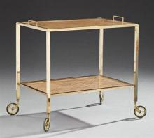 Modern Brass Dessert Cart, 20th c., the rectangular top with brass banding around a caned plexi glass covered surface over a like lo...