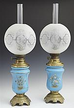 Pair of Blue Bristol Glass and Brass Carcel Lamps, 19th c., with cosmos burners, the sides with enameled floral decoration, with ori...