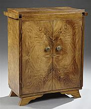Diminutive Art Deco Style Figured Walnut Sideboard, c. 1940, the rectilinear top with expanding draw leaf sides, above two bookmatch...