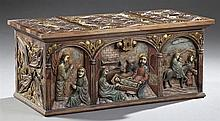 Spanish Medieval Style Carved Pine Polychrome and Parcel Gilt Coffer, early 20th c