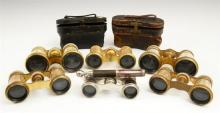 Group of Six Pair of Opera Glasses, c. 1900, one of Mother-of-Pearl by Lemaire, Paris; one Mother-of-Pearl by Lemaire, with a leathe...