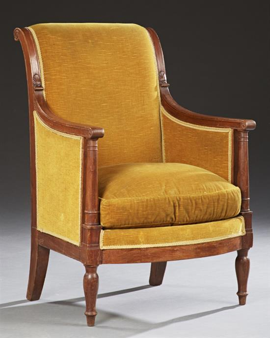 french louis philippe carved walnut voltaire fauteuil 19th. Black Bedroom Furniture Sets. Home Design Ideas