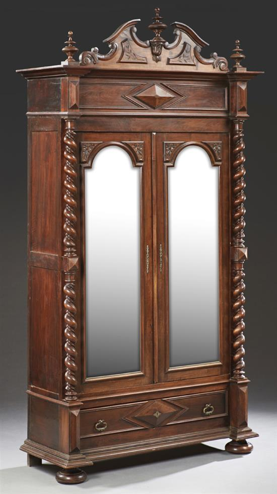 french henri ii style carved walnut armoire late 19th c t. Black Bedroom Furniture Sets. Home Design Ideas