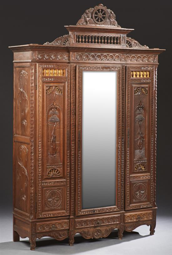 french henri ii style carved oak triple door armoire 19th c. Black Bedroom Furniture Sets. Home Design Ideas