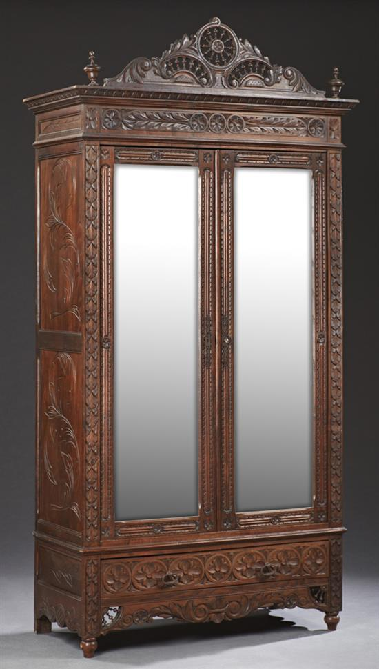 french henri ii style carved armoire late 19th c the scro. Black Bedroom Furniture Sets. Home Design Ideas