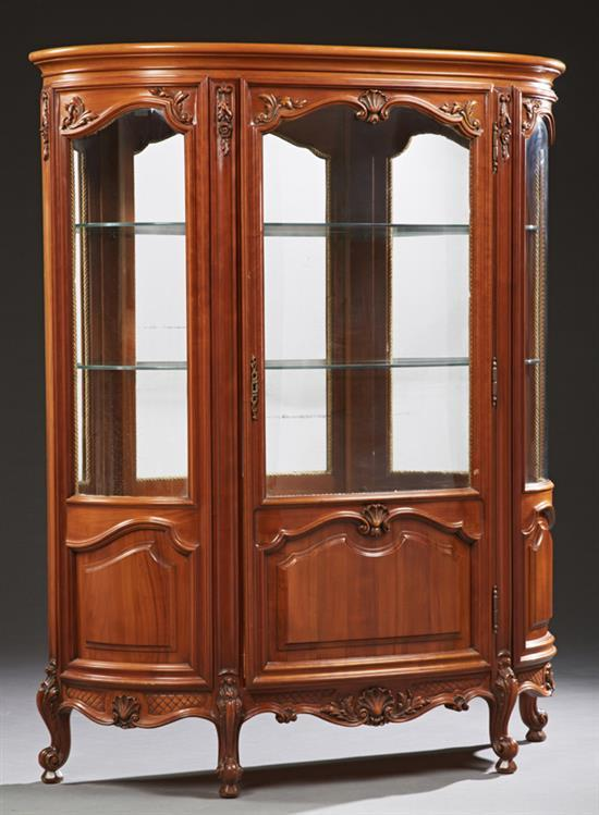 French Louis Xv Style Carved Cherry Curved Glass Curio Cabin