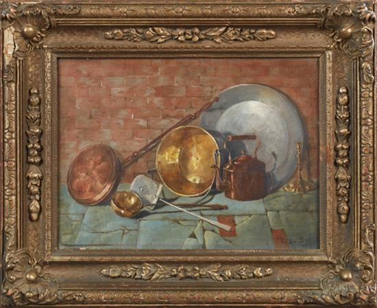 "Rosa Smith (English), ""Kitchen Utensils,"" 1893, oil on canvas"