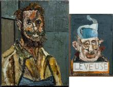 """Nicholas Sperakis (1943-), """"Leveuse,"""" and """"Self Portrait,"""" two oils on canvas, signed in monogram lower right """"N. S.,"""" Leveuse- H.-..."""