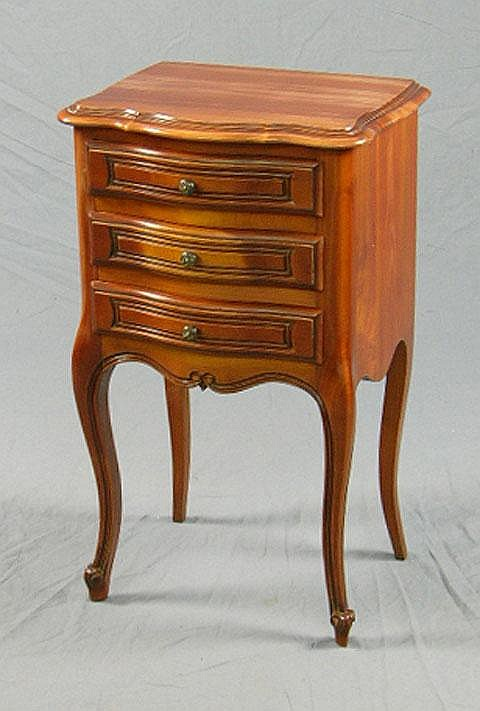 French Carved Cherry Bow Front Lamp Table, 20th