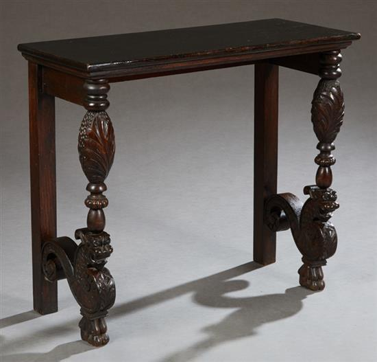 Montego Contemporary Merlot Wood Square End Table W Drawer: Unusual French Louis XIII Style Carved Mahogany Console Tabl