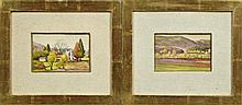 """†Nell Pomeroy O'Brien (1899-1966, New Orleans), """"Hilly Landscapes,"""" pair of watercolors, both pencil signed, presented in gold leaf f."""