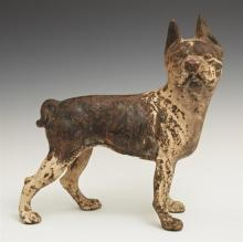 American Cast Iron Boston Terrier Doorstop, c. 1900, with much original paint, H.- 10 in., W.- 9 1/2 in., D.- 3 1/2 in.
