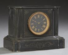 French Black Marble Mantle Clock, c. 1880, time and strike, by S. Marti, of temple form with a black marble dial flanked by incised...