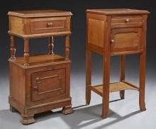 Two French Nightstands, 19th c., one in oak with a canted corner top over a frieze drawer, on turned tapered supports to a lower pot...