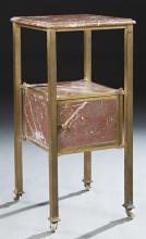 Unusual French Rouge Marble and Brass Marble Nightstand, c. 1900, the ogee edge highly figured rouge marble, on square brass support...